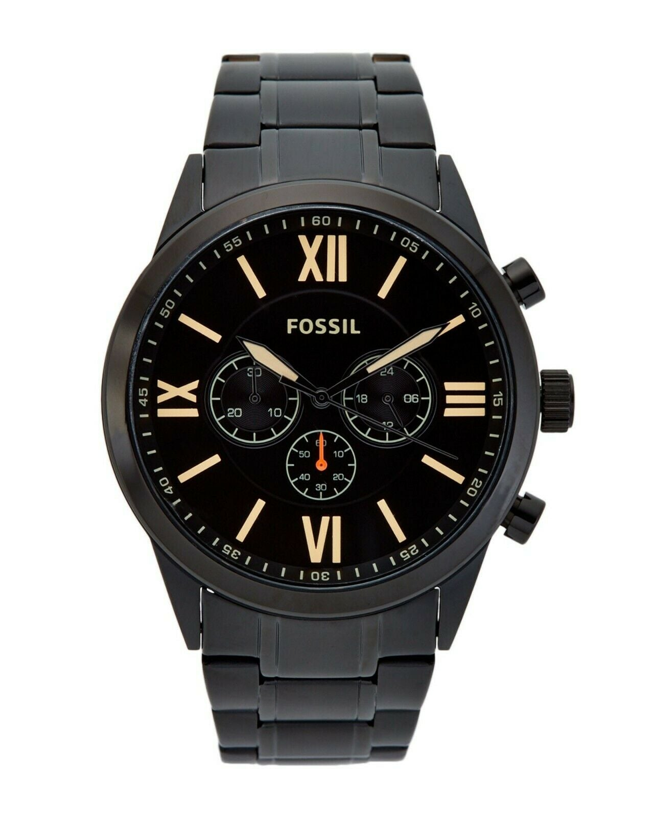 Fossil Flynn Chronograph Watch BQ2151 Men's Black Stainless Steel $165