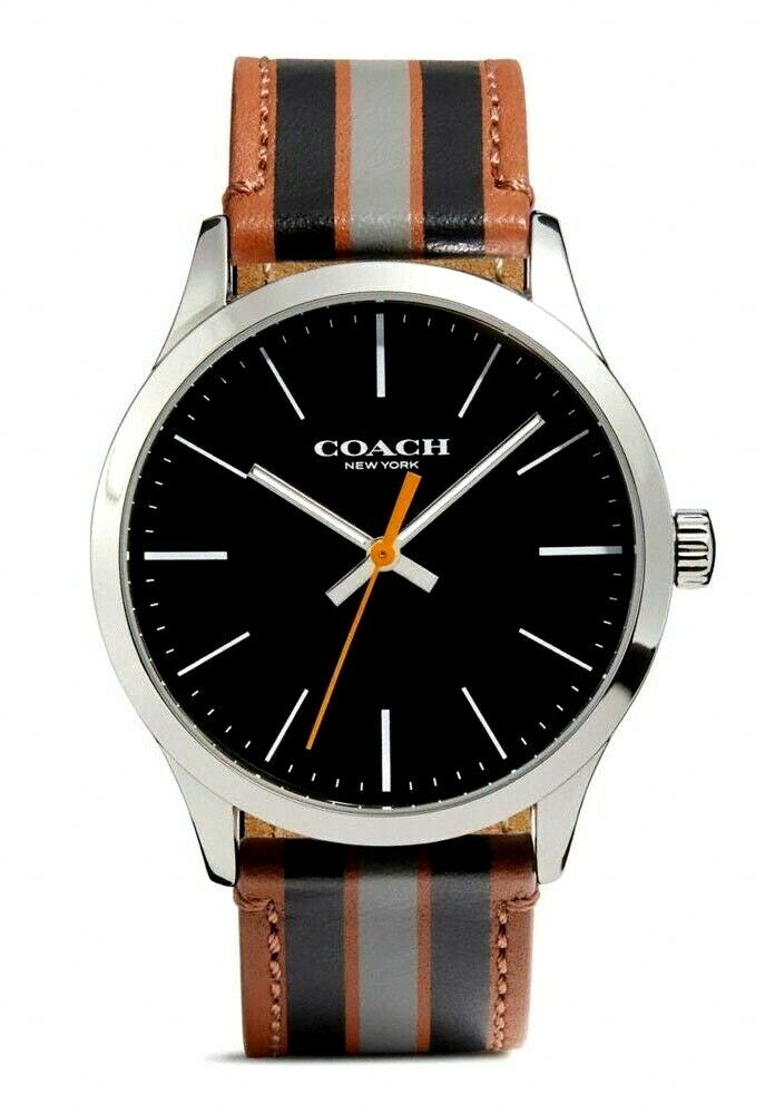 Coach Baxter Leather Strap With Varsity Stripe Men?s Watch 14602366