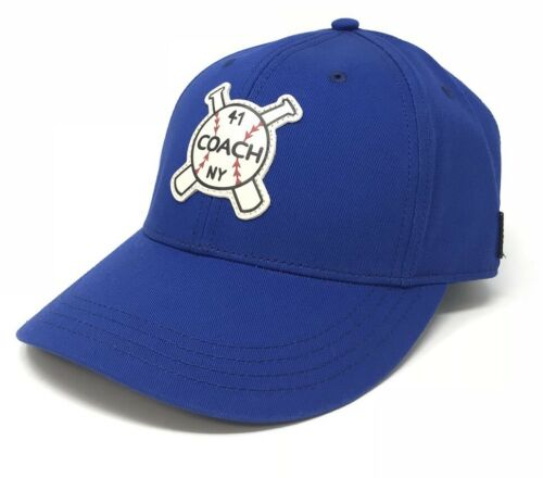 Coach Men's Americana Baseball Cap/Hat Royal Blue With New York Motif F26807 $95