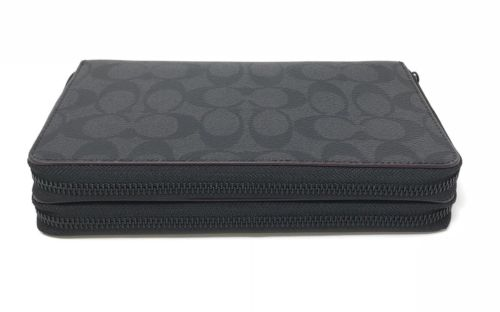 Coach Men's Double Zip Travel Signature PVC Wallet Organizer Black F25528 $295
