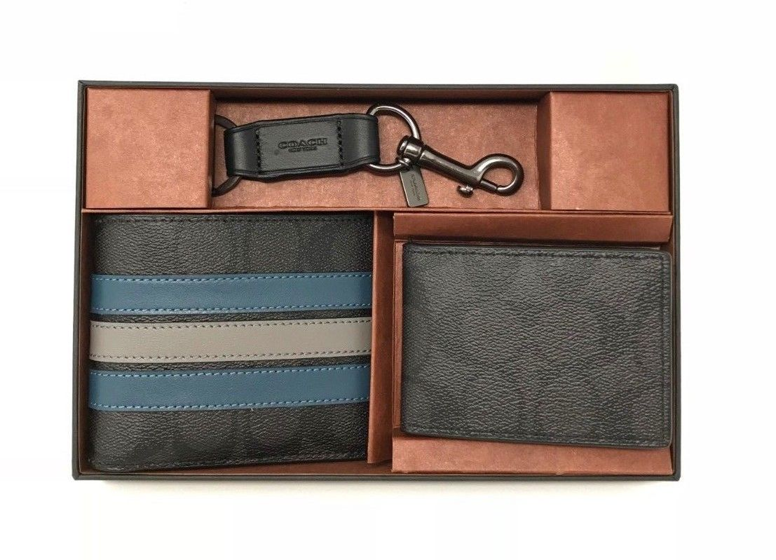 Coach Men's Boxed Compact ID Wallet Gift Set With Varsity Stripe F37944 $225