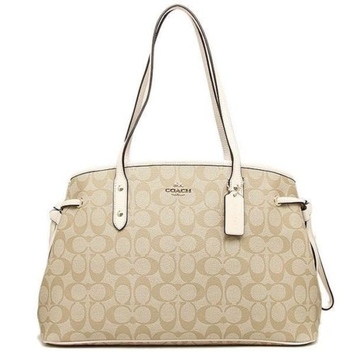 Coach F57842 Drawstring Signature Carryall Light Khaki Chalk Shoulder Bag $350