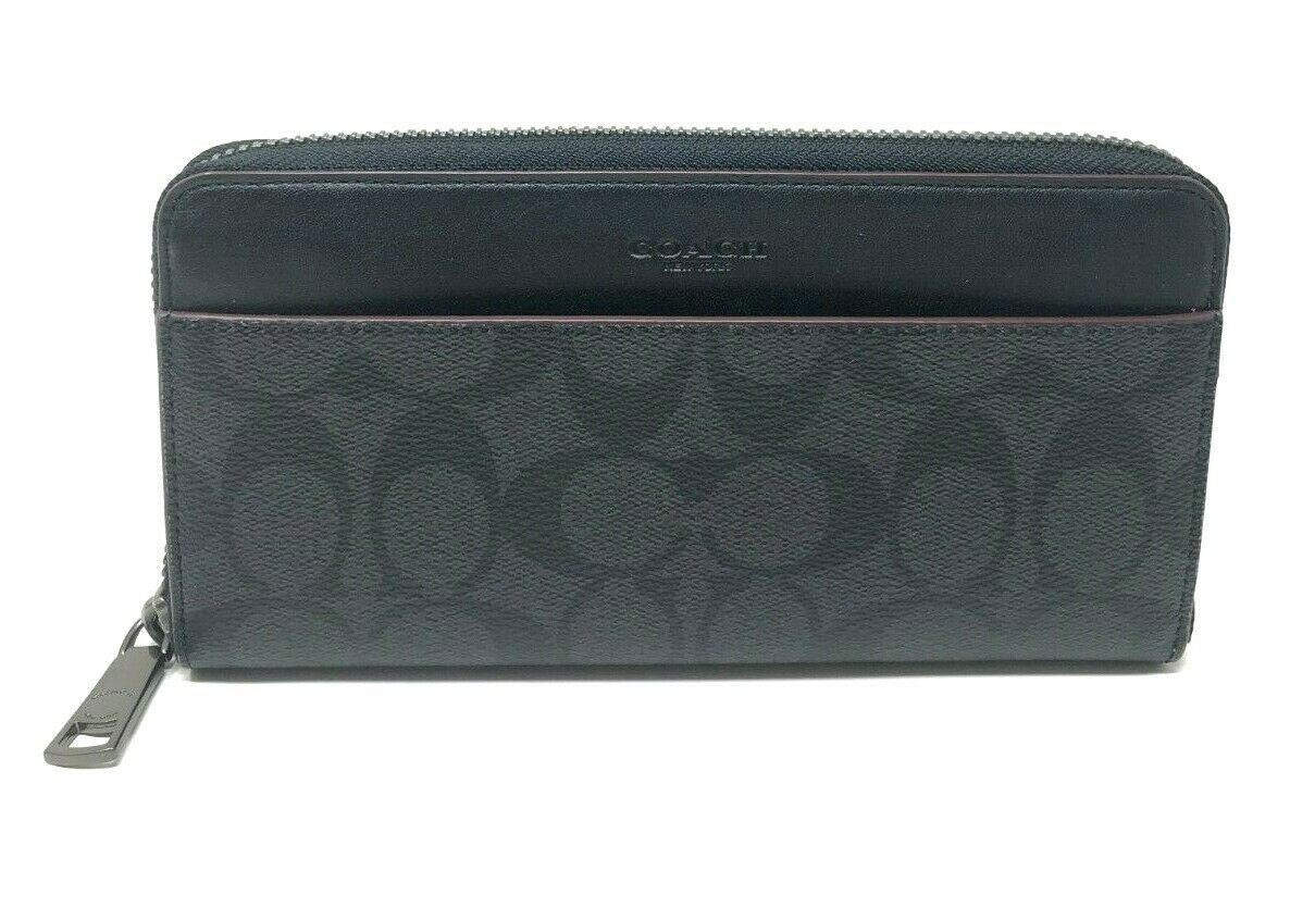 Coach Boxed Accordion Wallet Gift Set in Signature Canvas Black Oxblood F41345