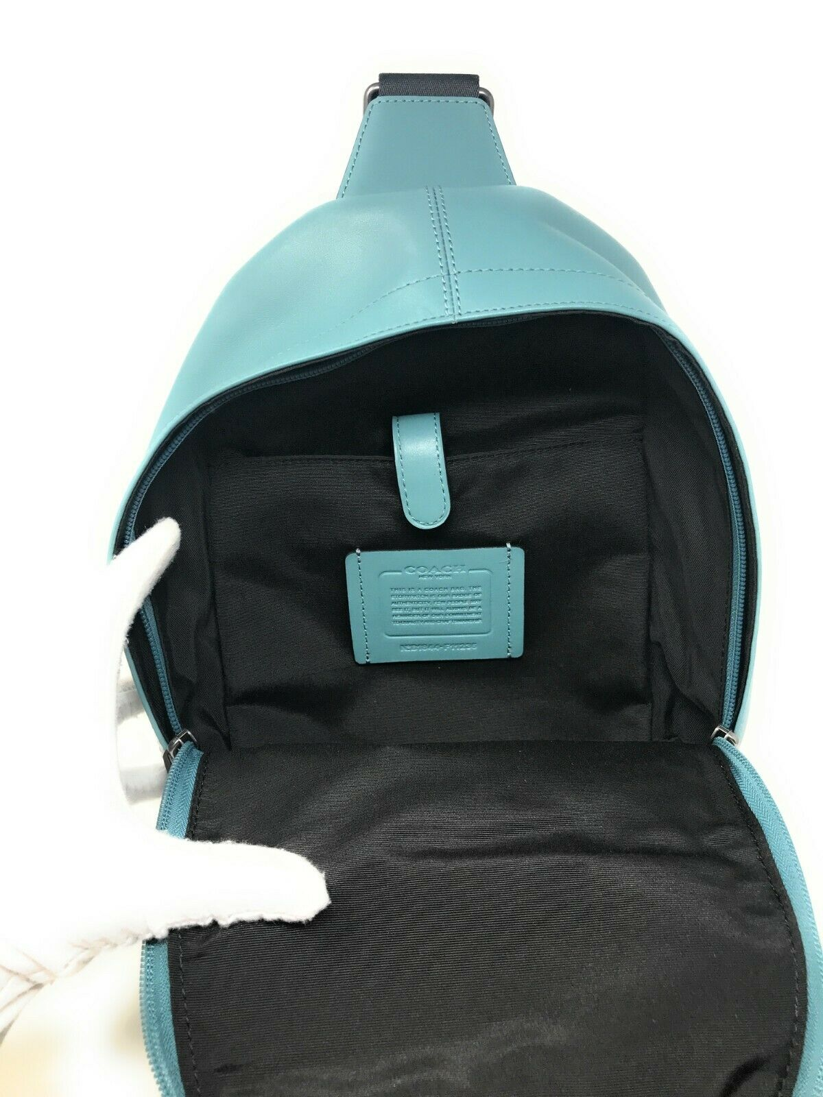 Coach F11236 Men's Charles Pack With Baseball Stitch Cyan Leather $450