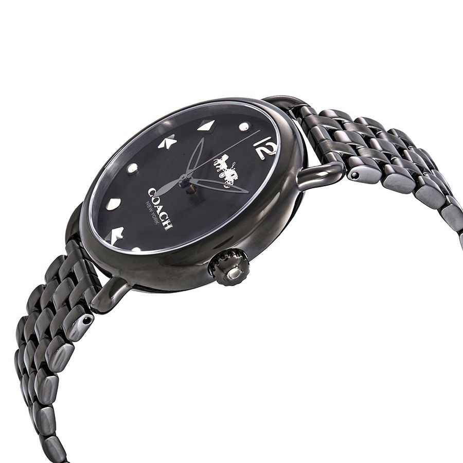 Coach Delancey Black Dial Silver Studs Stars Gunmetal Watch 36mm 14502812 $295