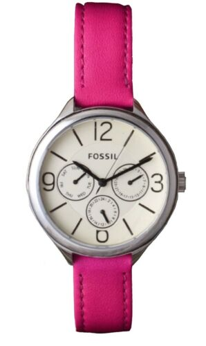 Fossil Women's Pink Leather Multifunction Dial Day/Date Casual Watch BQ3249 $105