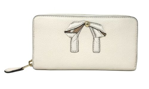 Coach Accordion Zip Women's Wallet With Bow Chalk Leather Wallet F29382 $275