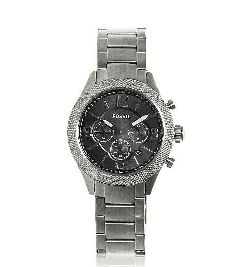 Fossil Men's Watch Black Dial Stainless Steel Chronograph BQ2107IE $145