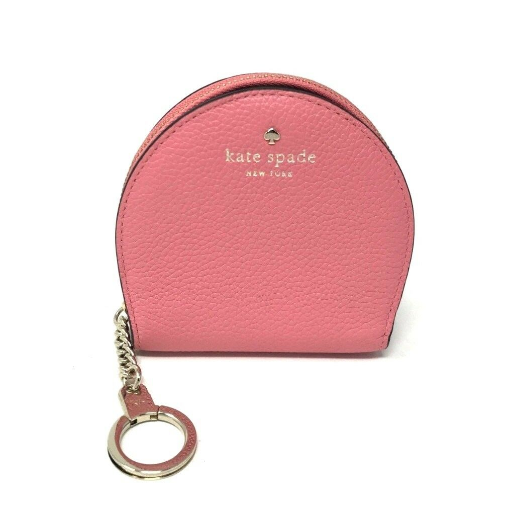 Kate Spade Larchmont Ave Sari Coral Leather Wallet Coin Key Chain WLRU5223 $99
