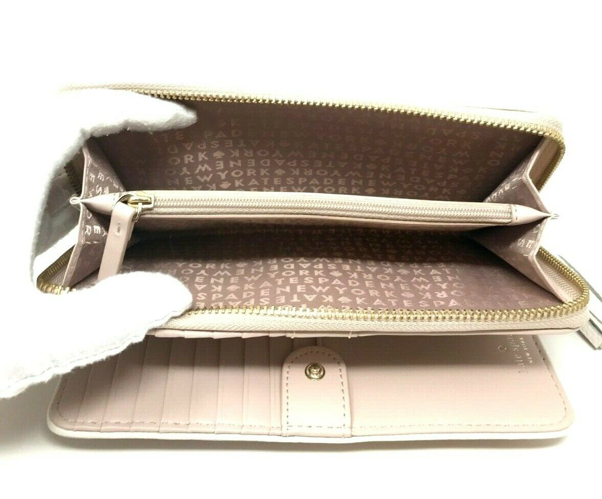 Kate Spade Chester Street Brigitta Cement Pebbled Leather Wallet WLRU3046 $199