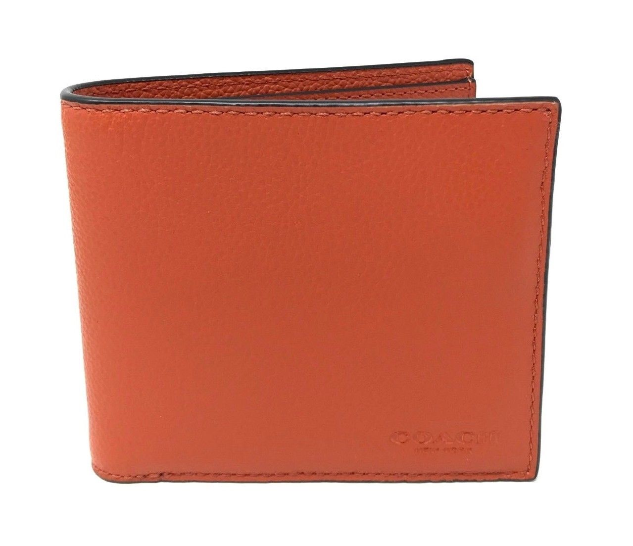 Coach Men's Billfold Double Fold Sport Calf Leather Russet Wallet F75084 $150