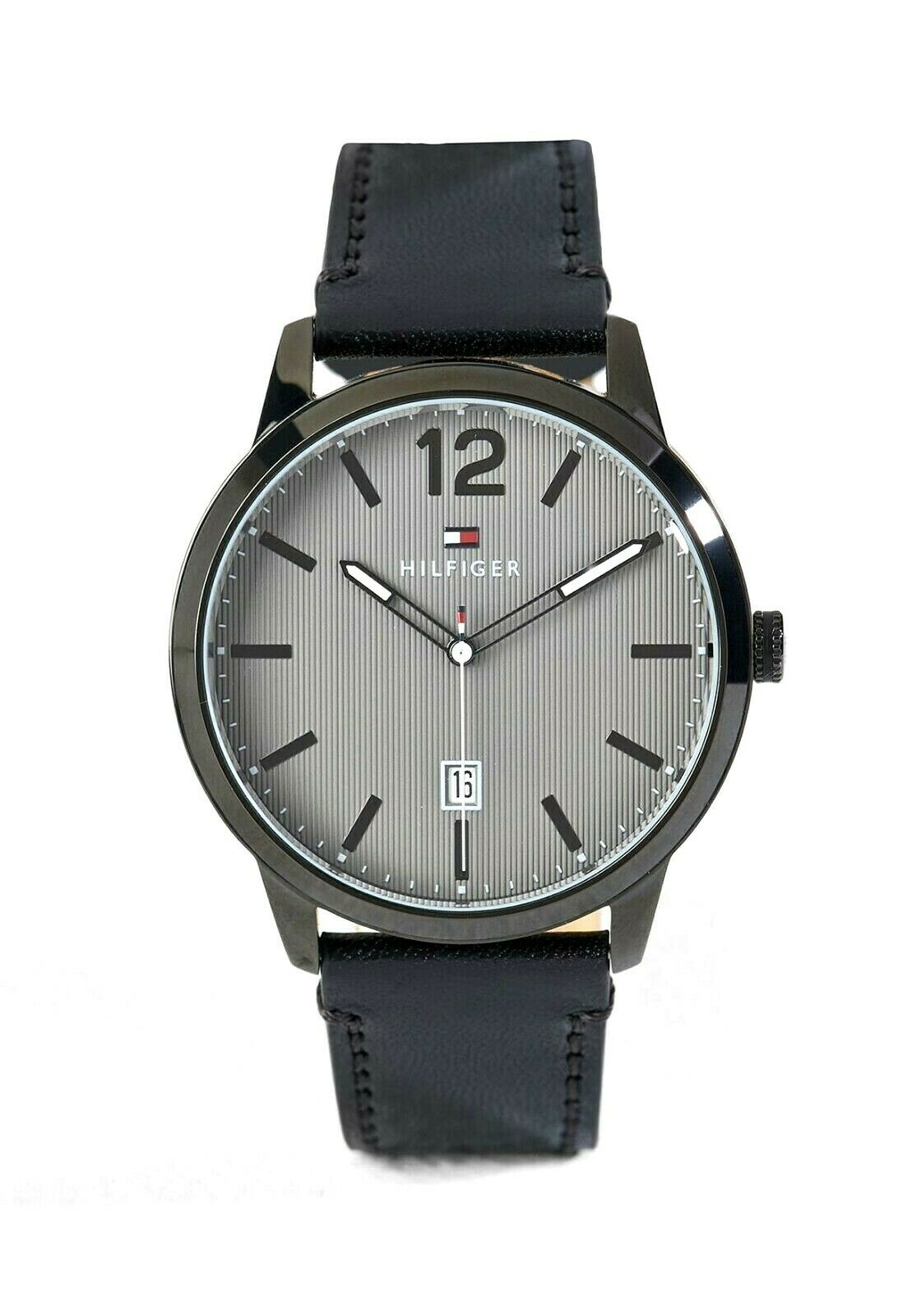 Tommy Hilfiger Men's Watch Leather Dustin Black 1791497 $135