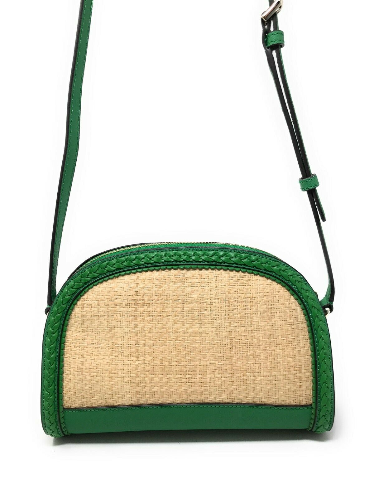 Kate Spade Dome Crossbody Reiley Straw Green Bean Handbag Summer WKRU5889