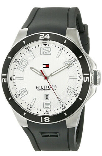 Tommy Hilfiger 1790863 Blake White Dial Gray Black Silicone Strap Men's Watch