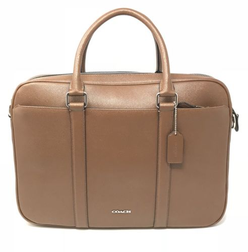 Coach Perry Slim Brief in Crossgrain Dark Saddle Leather Laptop Bag F59057 $595