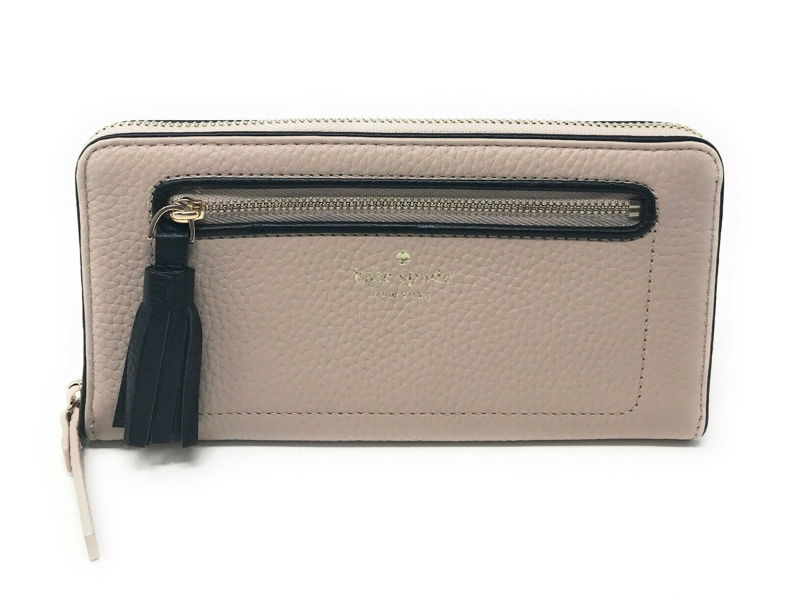 Kate Spade Chester Street Neda Warm Beige Black Zip Around Wallet WLRU2654 $189