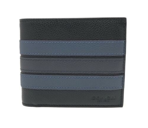 Coach F24649 Men's 3-In-1 Varsity Leather Stripe Black Compact ID Wallet $175