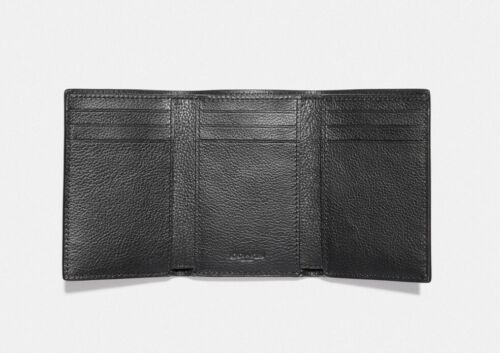 Coach F23845 Men's Trifold Sport Calf Black Leather Wallet $150