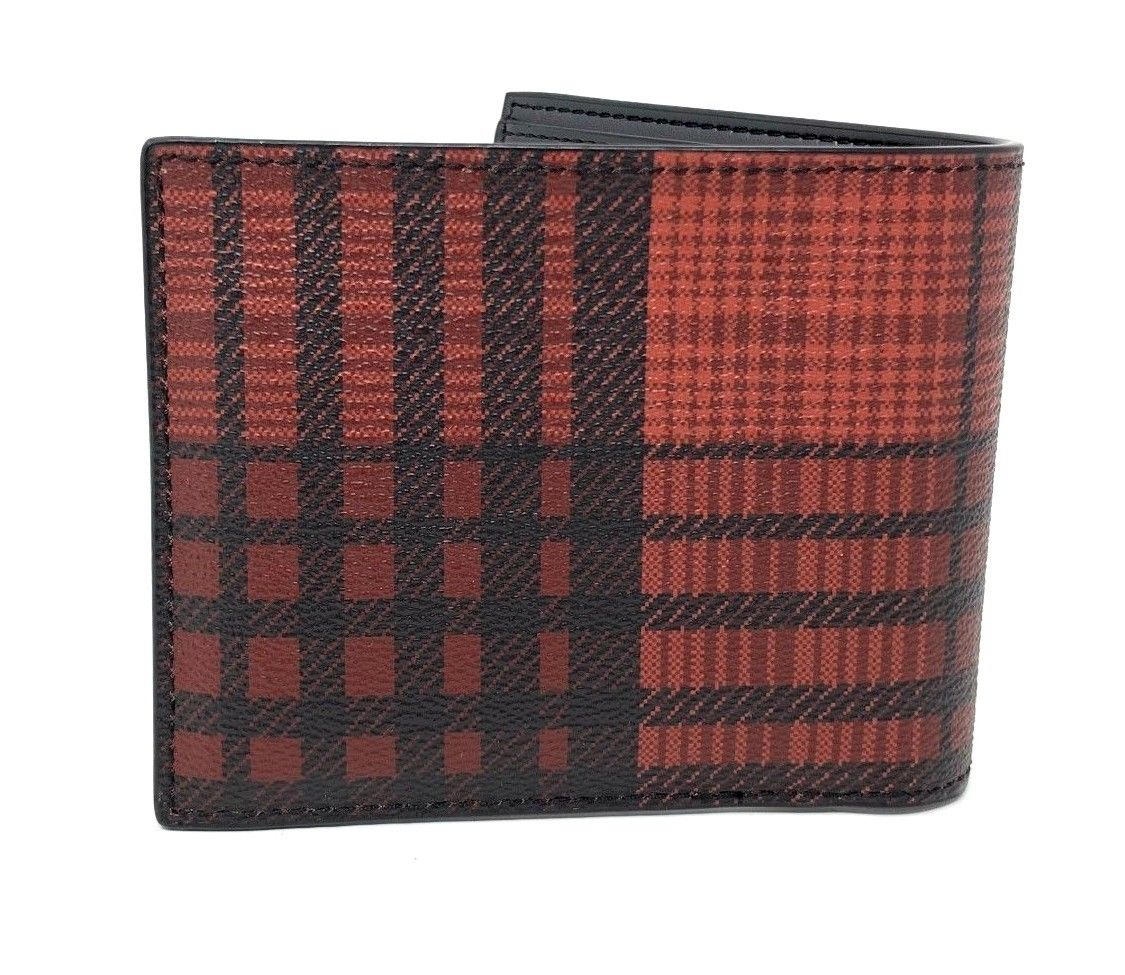 Coach Men's 3-In-1 Compact ID With Twill Plaid Red Print Wallet F38825 $175