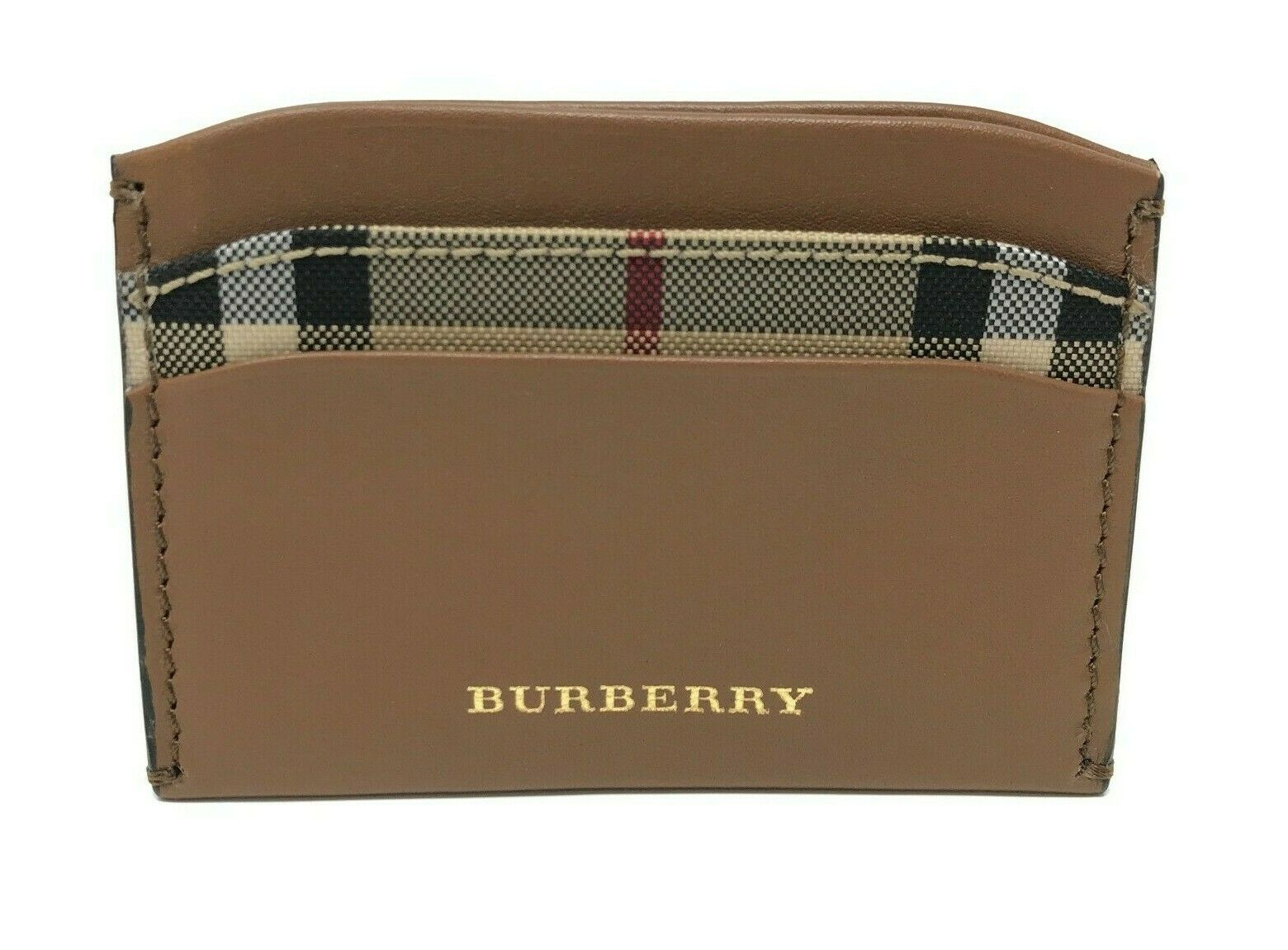 Burberry Men's Horseferry Check Izzy Tan Brown Leather Card Case Wallet