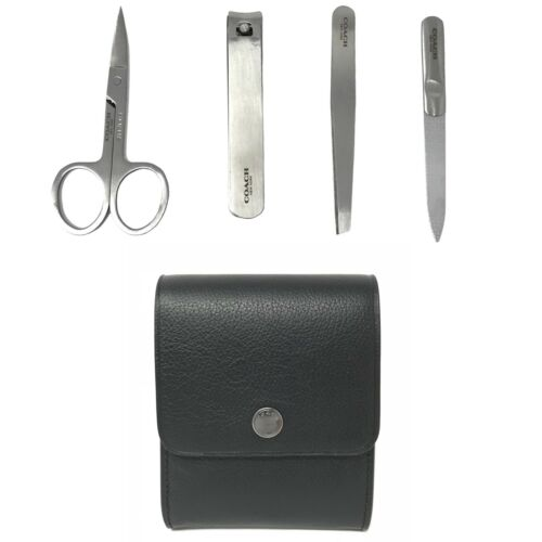 Coach Men's Grooming Kit Black Calf Leather Nail Clippers Tweezers F29279 $95