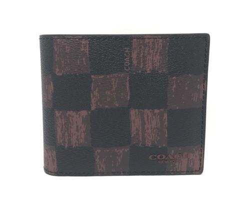 Coach F22375 3 IN 1 Graphic Checker Print Oxblood Men's Compact ID Wallet $175