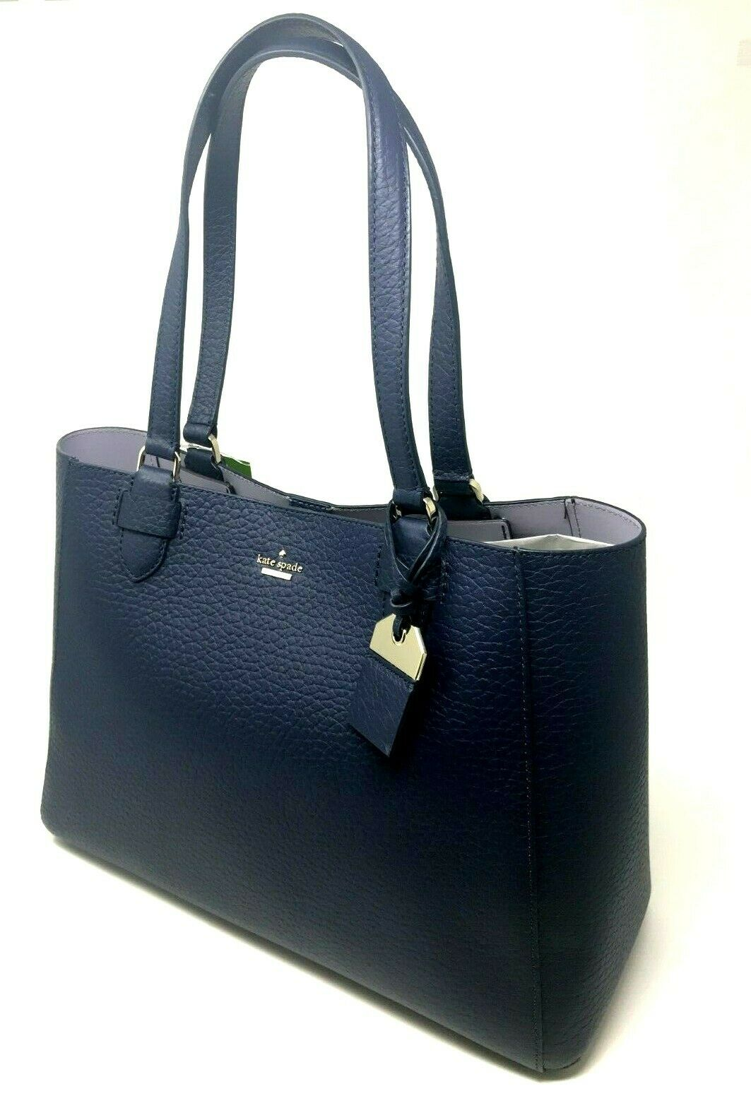 Kate Spade Carter Tyler Tote Blaze Blue Navy Leather Tote Handbag WKRU5837 $378