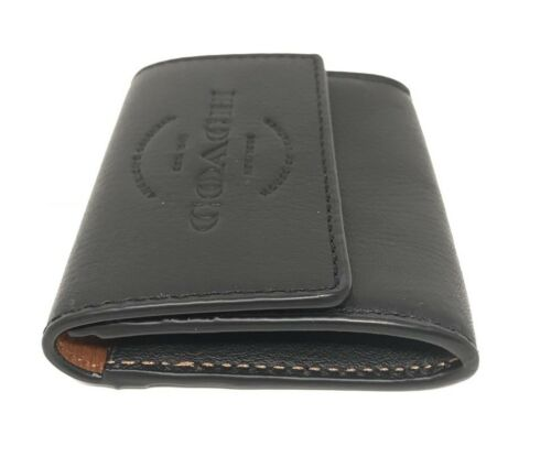 Coach F24652 Coin Case Black Natural Leather Men's Wallet $95