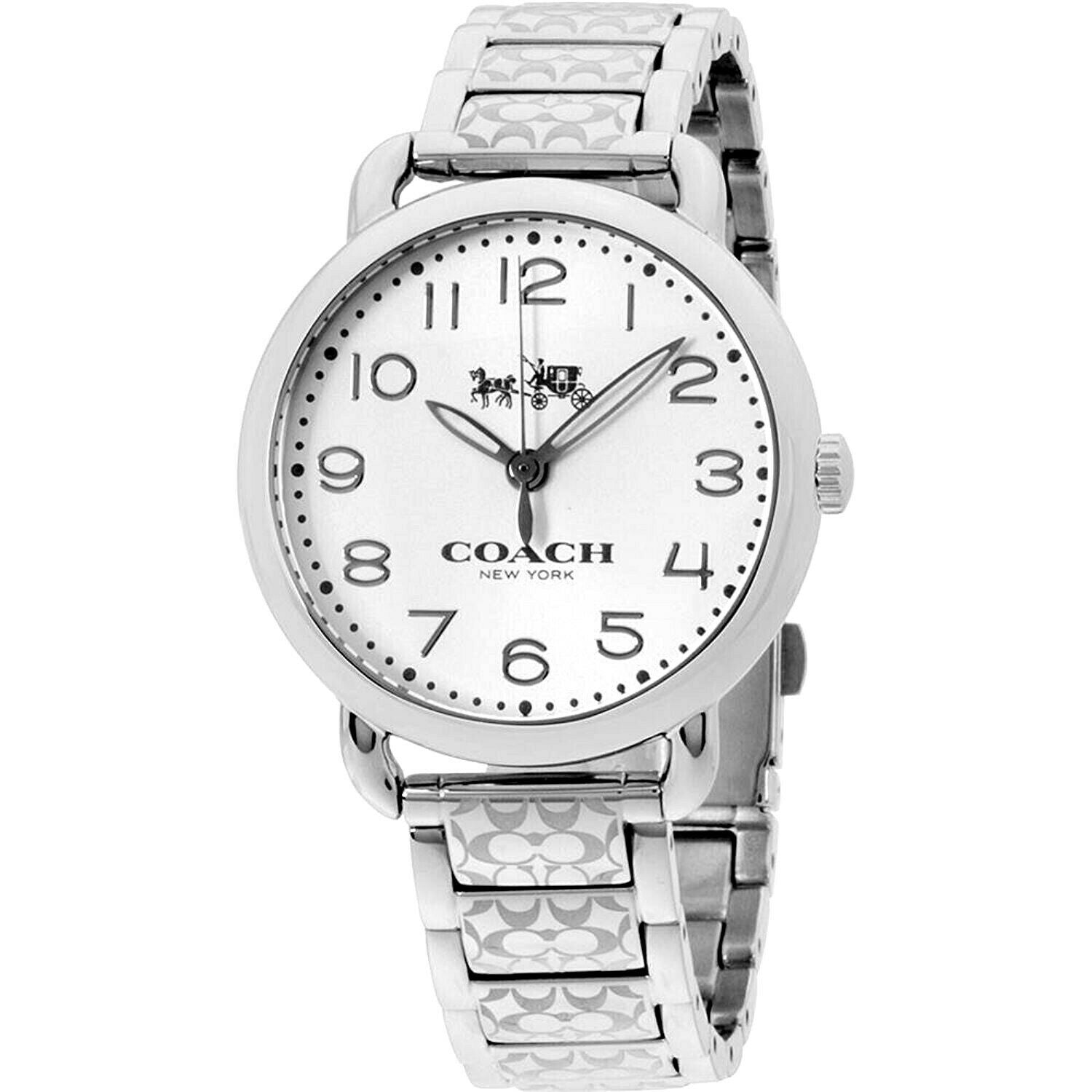 Coach Analog Business Delancey Silver Ladies Stainless Steel Bracelet 14502495