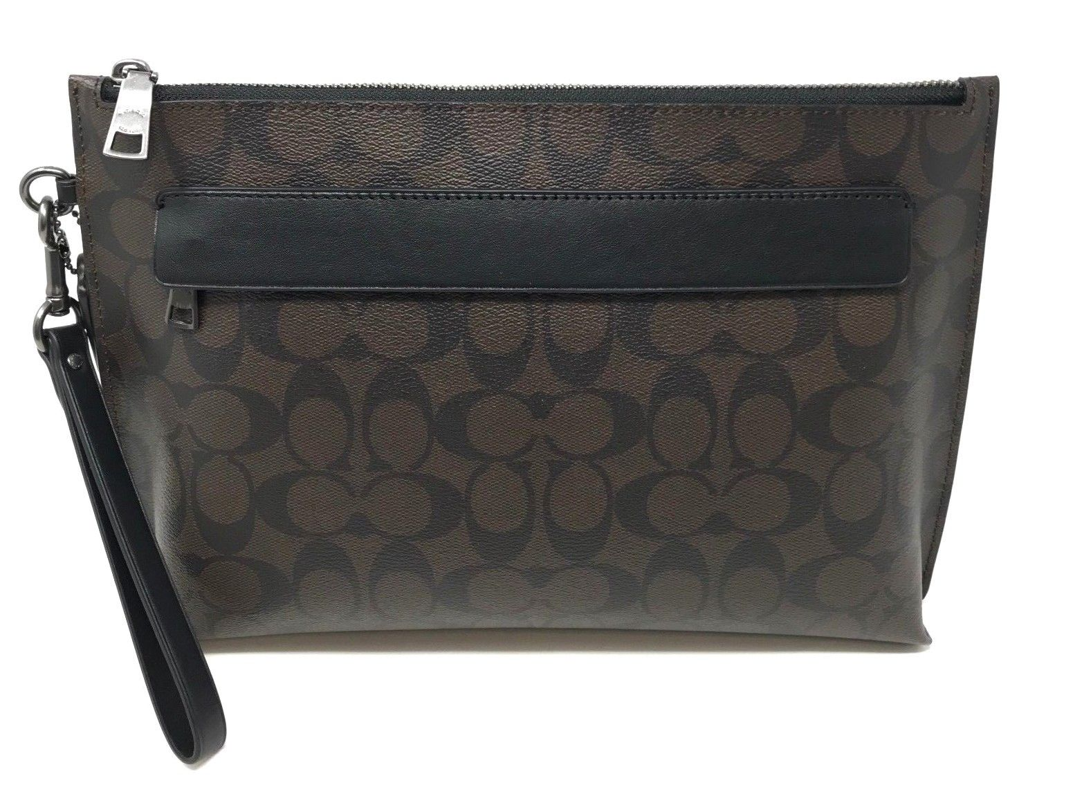 Coach Men's Carryall Pouch In Signature Canvas Mahogany Black Bag F29508 $250