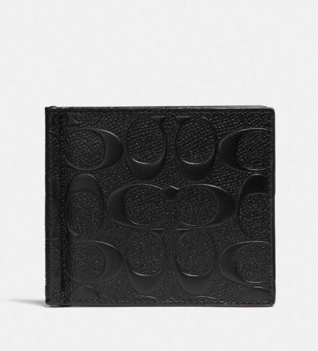 Coach F26107 Money Clip Billfold Signature Black Crossgrain Leather $165