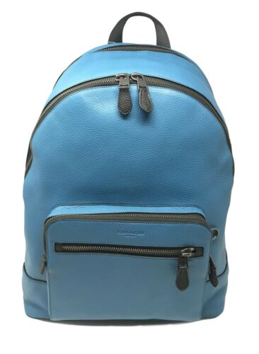 Coach Men's West Backpack In River Blue Pebble Leather F23247 $595