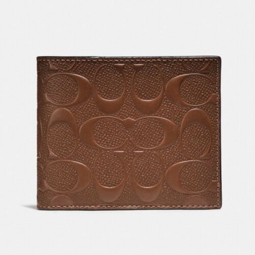 Coach F25753 Men's Compact ID Wallet In Signature Crossgrain Saddle $185