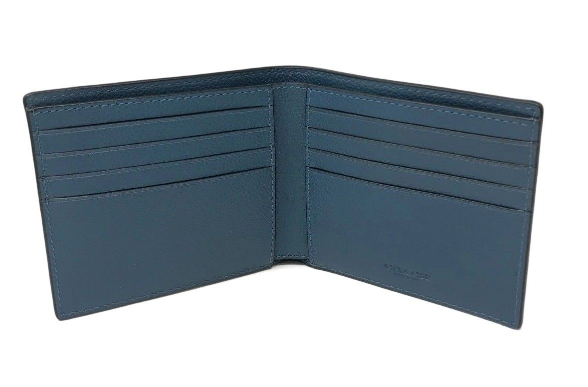 Coach Men's Billfold Double Fold Calf Leather Mineral Blue Wallet F75084 $150