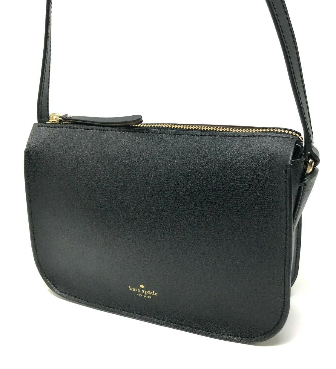 Kate Spade Holiday Lane Val Black Leather Zip Crossbody Bag PXRUA067 $198