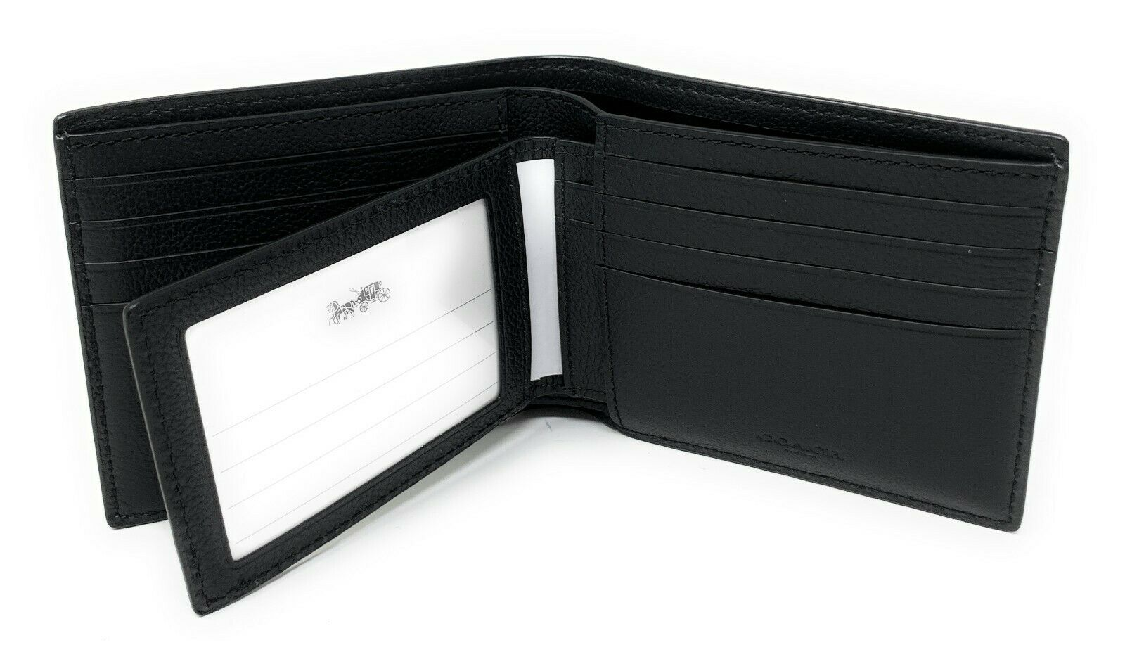 Coach Men's 3-In-1 Varsity Leather Stripe Black Grey Compact ID Wallet F73629