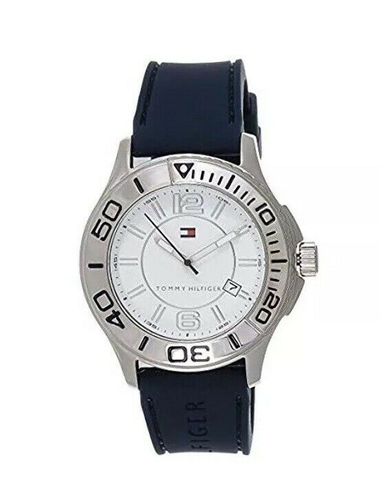 Tommy Hilfiger Stainless Steel Case Blue Rubber Mineral Men's Watch 1790959