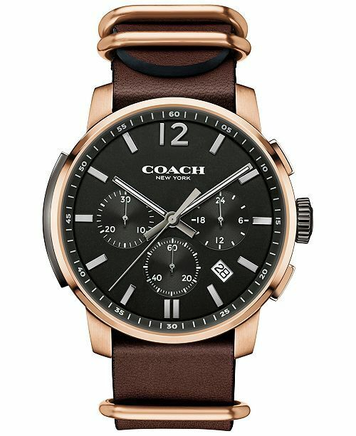 Coach Men's Bleecker Chrono Mahogany Leather Strap Watch 42mm 14602019 $295
