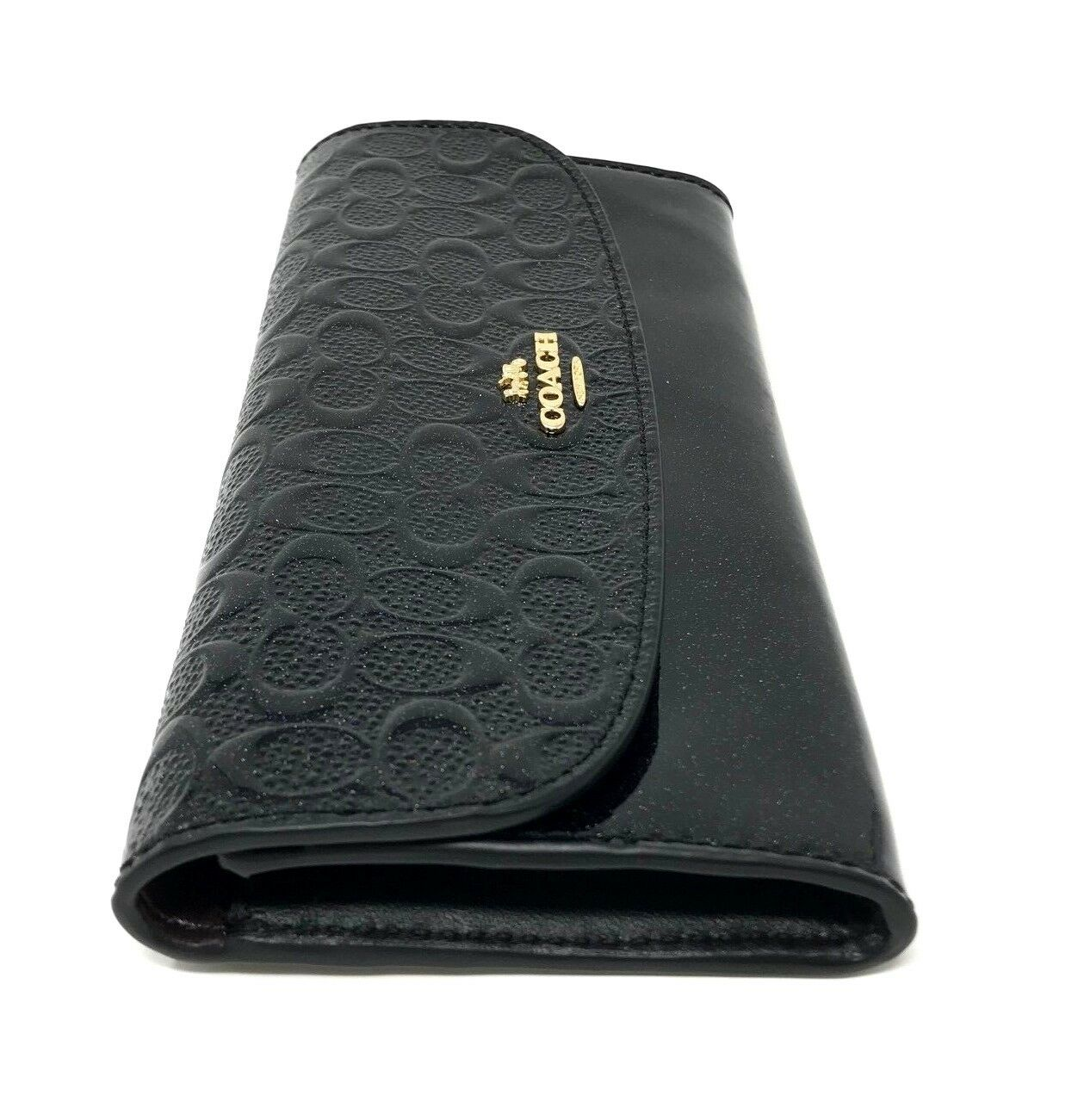 Coach Black Signature Debossed Patent Leather Soft Wallet F26814 $175