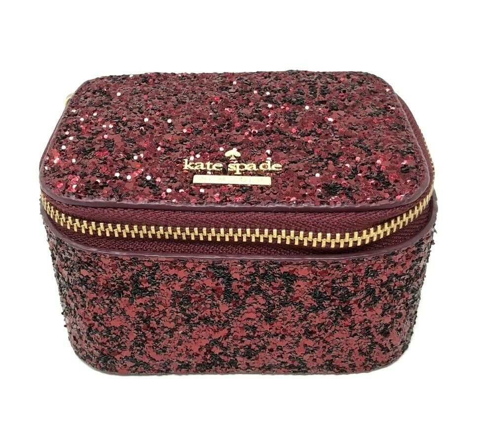 Kate Spade Jasmine Laurel Way Jewelry Container Box Glitter Deep Plum WLRU5220 $89