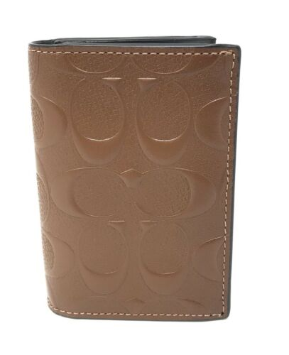 Coach Men's F25752 Signature Crossgrain Leather Bifold Card Case Saddle $125