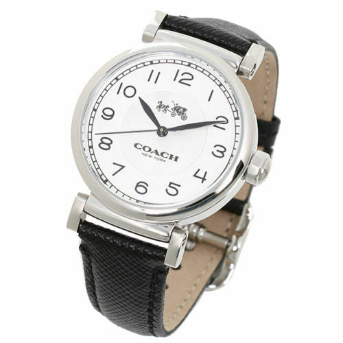 Coach Round Silver Tone & Black Leather Madison Women's Watch 14502406 $225