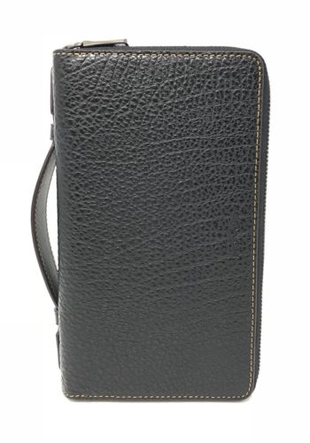 Coach Men's Double Zip Travel Organizer Wallet Black Leather F87104 $325