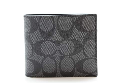 Coach Compact ID Signature PVC Wallet Charcoal/Black