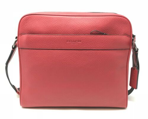 Coach F24876 Men's Charles Camera Crossbody Bag In True Red Leather $350