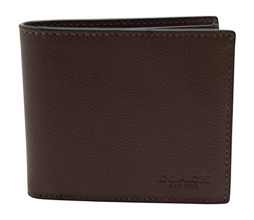 Coach Mens Double Billfold Sport Calf Wallet 75084 Mahogany
