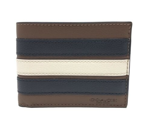 Coach F26171 Men's Slim Billfold Varsity Stripe Saddle Leather Wallet $125