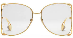 Gucci Clear Oversized Gold Metal Sunglasses GG0252S