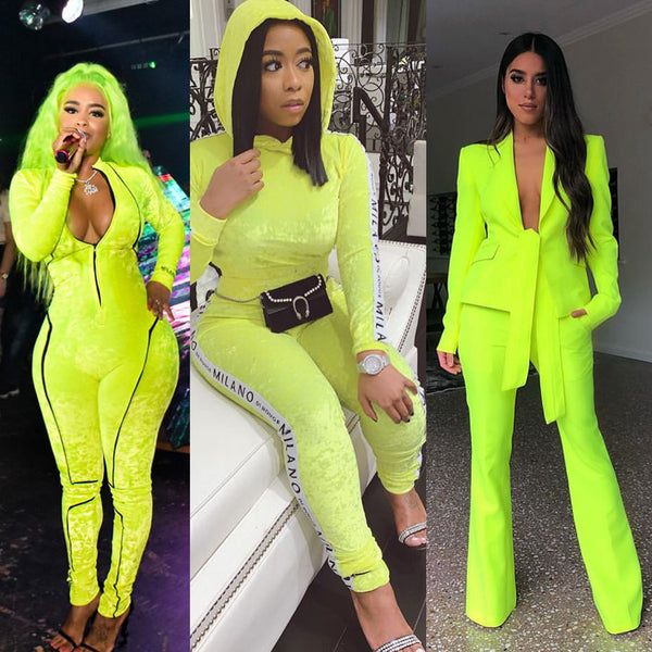 Fluorescent Green Head-to-Toe Outfits