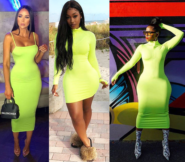 Fluorescent Green Dresses
